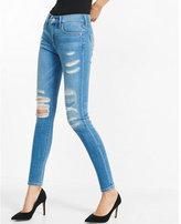 Express distressed mid rise jean legging