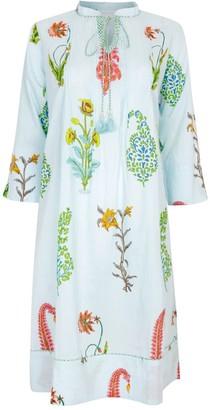 Nologo Chic Botanical Tunic Dress - Pure Cotton - Persian Blue