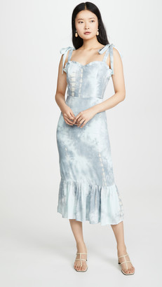 ENGLISH FACTORY Tie Dye Fitted Sleeveless Dress