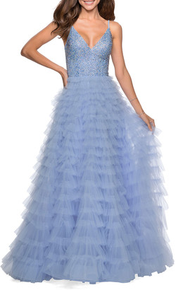 La Femme Rhinestone Bodice Tiered Tulle A-Line Gown