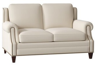 """Bradington Young Houck Genuine Leather 63"""" Rolled Arm Loveseat Bradington-Young Body Fabric: Milestone White, Leg Color: Mahogany, Nailhead Detail: French Natural 7/16"""