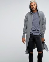 Asos Oversized Hooded Cardigan In Gray