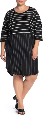 Junarose Jrjuliana Dual Stripe Print Dress (Plus Size)