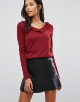 Boohoo Ruffle V-Neck Sweater