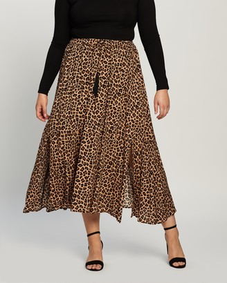 Atmos & Here Atmos&Here Curvy - Women's Brown Maxi skirts - Domanique Animal Midi Skirt - Size 18 at The Iconic