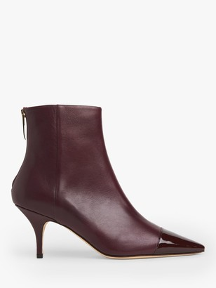 LK Bennett Athena Leather Ankle Boots, Red Wine