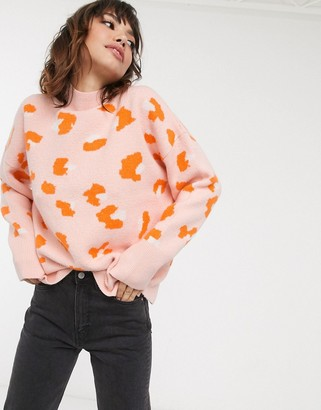 French Connection leopard high neck jumper
