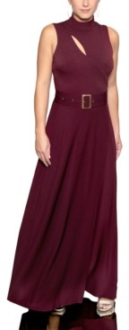 Christian Siriano New York Mock-Neck Belted Maxi Dress