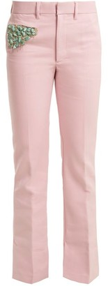 Toga Bead Embellished Straight Leg Trousers - Womens - Light Pink