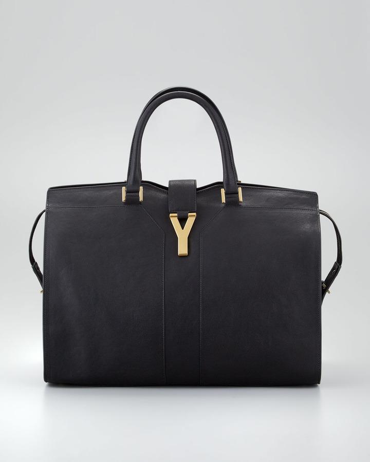 Saint Laurent Cabas ChYc Ranch Leather Large Tote Bag, Black