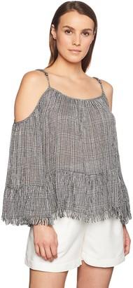 En Creme Women's Cold Shoulder Boho Top