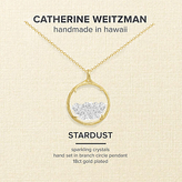 Catherine Weitzman 18ct Gold Plated Small Crystal Gem Shaker Round Pendant Necklace, Gold/Clear