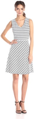 Andrew Marc Women's Stripe V Neck Fit and Flare Dress