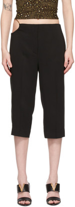 Versace Black Cropped Ring Detail Trousers