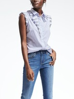 Banana Republic Riley-Fit Stripe Sleeveless Ruffle Shirt