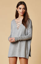 Honey Punch Lace-Up Tunic Sweater