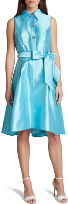 Tahari Mikado Sleeveless Tie Waist Fit & Flare Dress