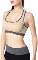AuntTaylor Teens Elastic Band Seamless Racerback Yoga Sports Bra Apricot