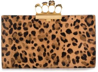 Alexander McQueen four-ring leopard-print clutch