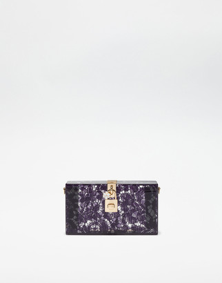Dolce & Gabbana Dolce Box Clutch In Plexiglass And Lace