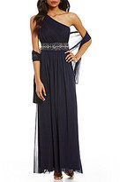 Jessica Howard One-Shoulder Beaded-Trim Gown