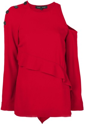 Proenza Schouler cut-out shoulder and frill detail sweater