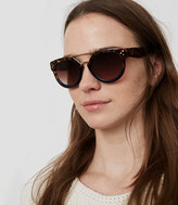 LOFT Double Bridge Tortoiseshell Print Round Sunglasses