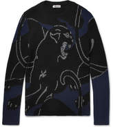 Valentino Panther Intarsia Ribbed-knit Wool Sweater - Navy