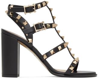 Valentino Black Garavani Rockstud Caged Sandals