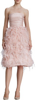 Oscar de la Renta Strapless Organza Feather Dress