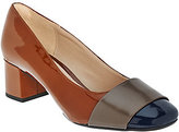 Clarks As Is Narrative Leather Block Heeled Pumps - Chinaberry Sky