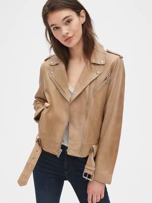 Gap Leather Belted Moto Jacket