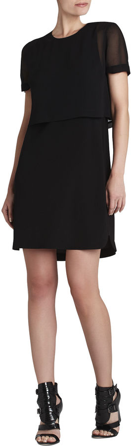 BCBGMAXAZRIA Kristy Short-Sleeve Layered Dress