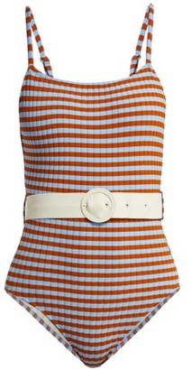 Solid & Striped The Nina Belted Swimsuit - Womens - Multi Stripe