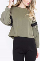 Sugar Lips Olive Poplin Top