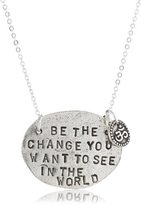 "Alisa Michelle Words To Live By"" Sterling Silver Plated Be The Change Stamp Charm Necklace"