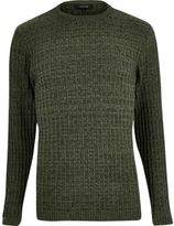 River Island MensDark green ribbed sweater