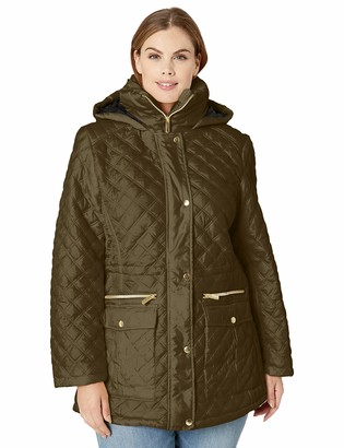 Big Chill Women's Plus Size Diamond Quilted Anorak Jacket