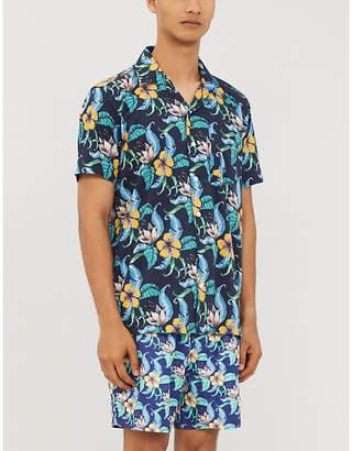 FAR AFIELD Tropical-print short-sleeved linen shirt