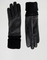Pieces Leather Gloves with Jersey Cuff