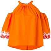 Peter Pilotto embroidered tiered sleeve blouse - women - Cotton - 10