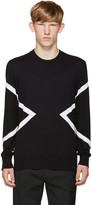 Neil Barrett Blue & Black Modernist Sweater