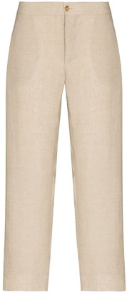 ASCENO Antibes cropped linen trousers