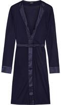 La Perla Morgane Silk Satin-trimmed Stretch-jersey Robe - Indigo