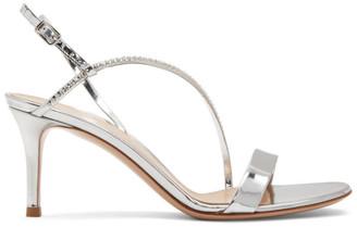 Gianvito Rossi Silver Metallic Crystal Manhattan Strappy 70 Sandals