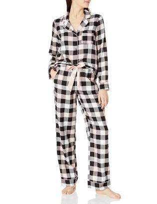 Mae Amazon Brand Women's Sleepwear Cozy Flannel Notch Collar Pajama Set