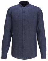 BOSS Collarless slim-fit shirt in Italian linen