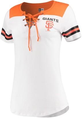 New Era Women's 5th & Ocean by White/Orange San Francisco Giants Baby Jersey Lace-Up V-Neck T-Shirt