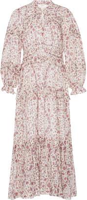 Etoile Isabel Marant Likoya Ruffled Printed Cotton-Voile Dress