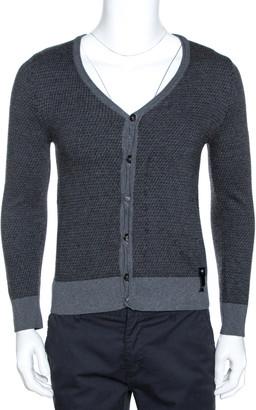 Fendi Grey Zucca Monogram Pattern Wool Button Front Cardigan M